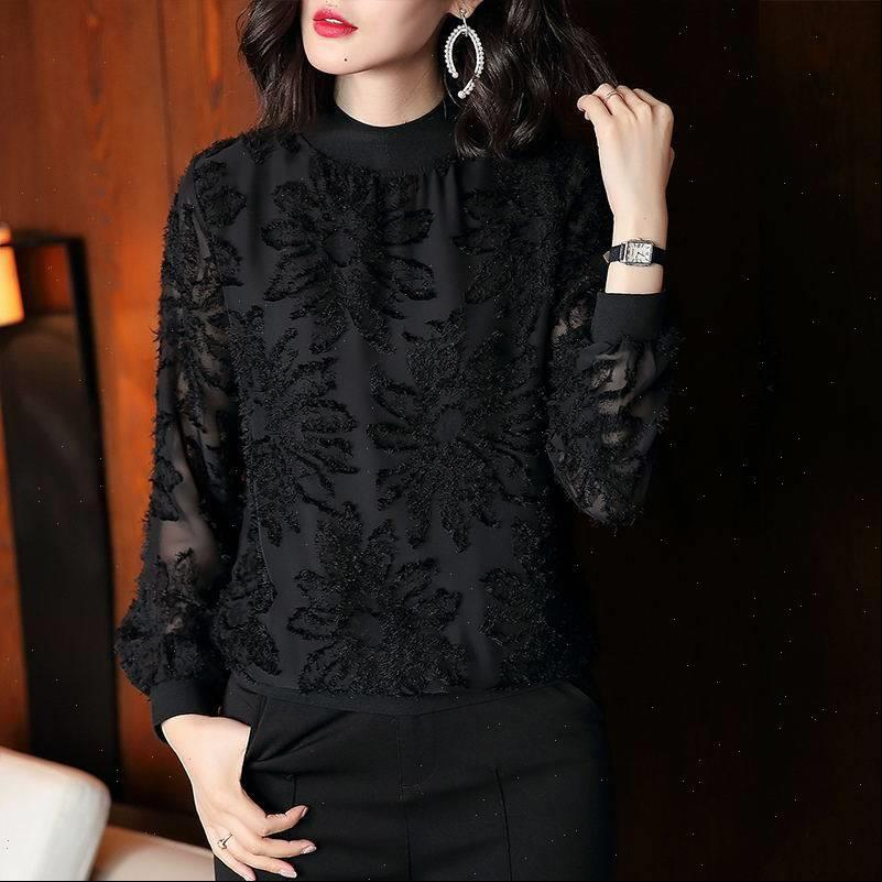 spring foreign style fashion Women Shirts small black wild long sleeved lace ladies round neck bottoming