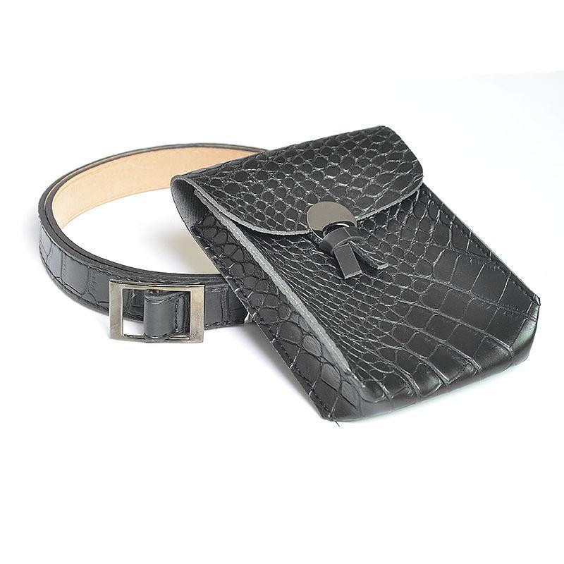 Cinture da donna per donna in coccodrillo selvaggio coccodrillo cintura in pelle con tasca per personalità piccola borsa mini dolce 597