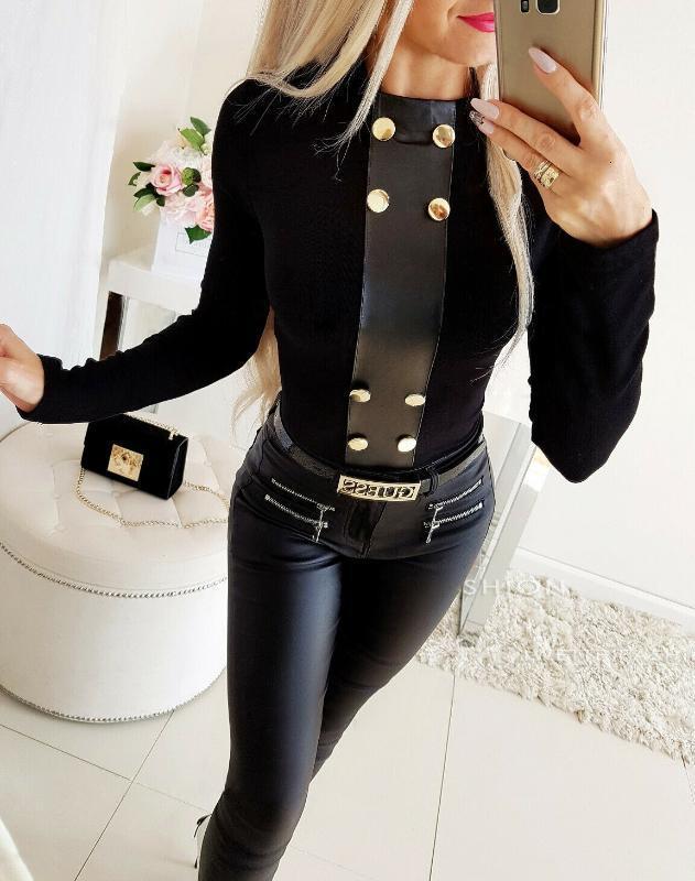Женская Одежда Blusa1 Теплые PU Кожаные Женские Блузки Кнопка Верхние Сексуальные Рубашки С Длинным Рукавом Черная Блузка Элегантный