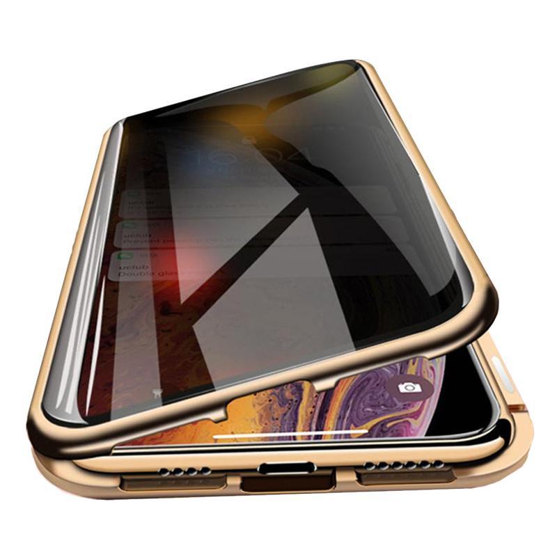 Manyetik Kılıf Gizlilik Metal Telefon Kılıfları Için iPhone 11 12 Pro Max 12mini Coque 360 Mıknatıs Önleme-Peeping Kapak