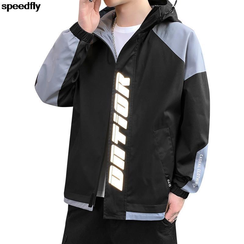 Primavera Chaqueta delgada para Hombres Elementos de Inglés Equipo Coreano Streetwear Abrigo Hombre Moda Ropa Tendencias Zip Up Sudadera Sudadera Chaquetas de los hombres