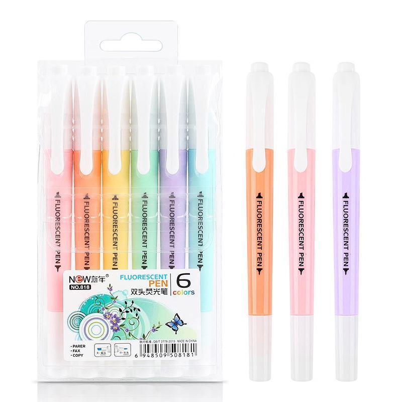 Highlighters 6 قطعة / المجموعة مزدوجة رئيس الفلورسنت تمييز القلم علامات الباستيل الرسم ل طالب مدرسة مكتب اللوازم لطيف القرطاسية