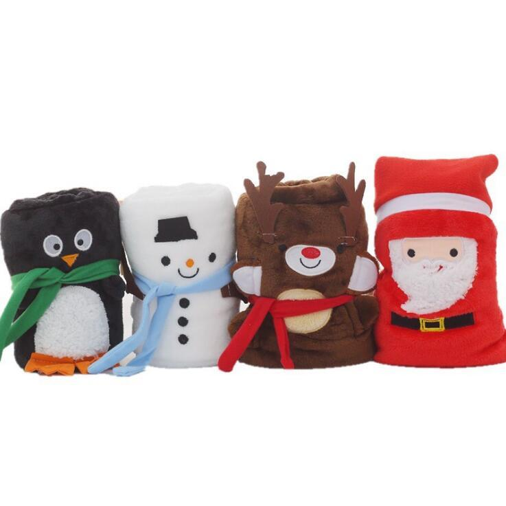 Carpets Cartoon Christmas Flannel Blanket Foldable Santa Claus Snowman Penguin Deer Pattern Carpet Washable Keep Warm Soft Throw Blankets ZWL06