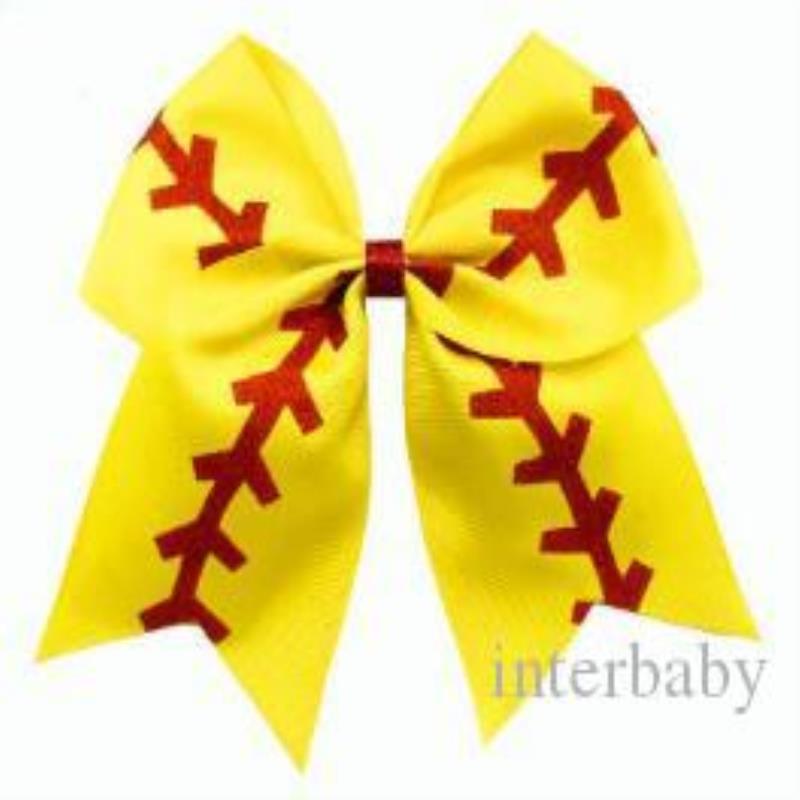 Softball-Cheer-Haar-Schwanz-Baseball-Haar-Haar-Haarbänder 4865 Bowknot baby Rugby Bögen Cheerleading Mädchen Zubehör Pferdeschwanz Stirnbandhalter FAQO