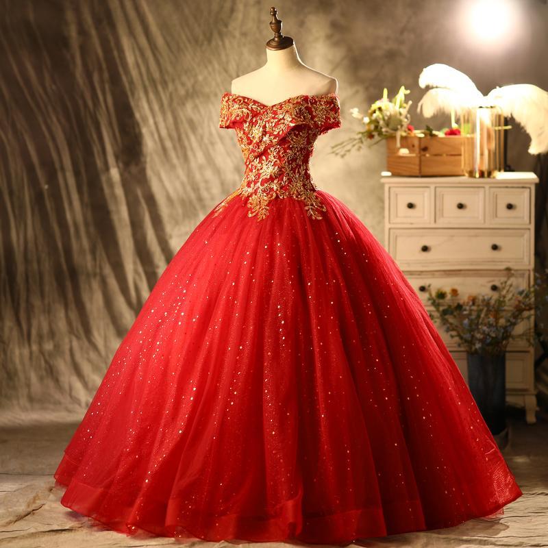 100% echte Luxus Rot mit goldenen Stickerei Perlen Fairy Dream Schleier mittelalterliches Kleid Renaissance Kleid Prinzessin Victorian Venedig / Marie Antoinett Belle Ball