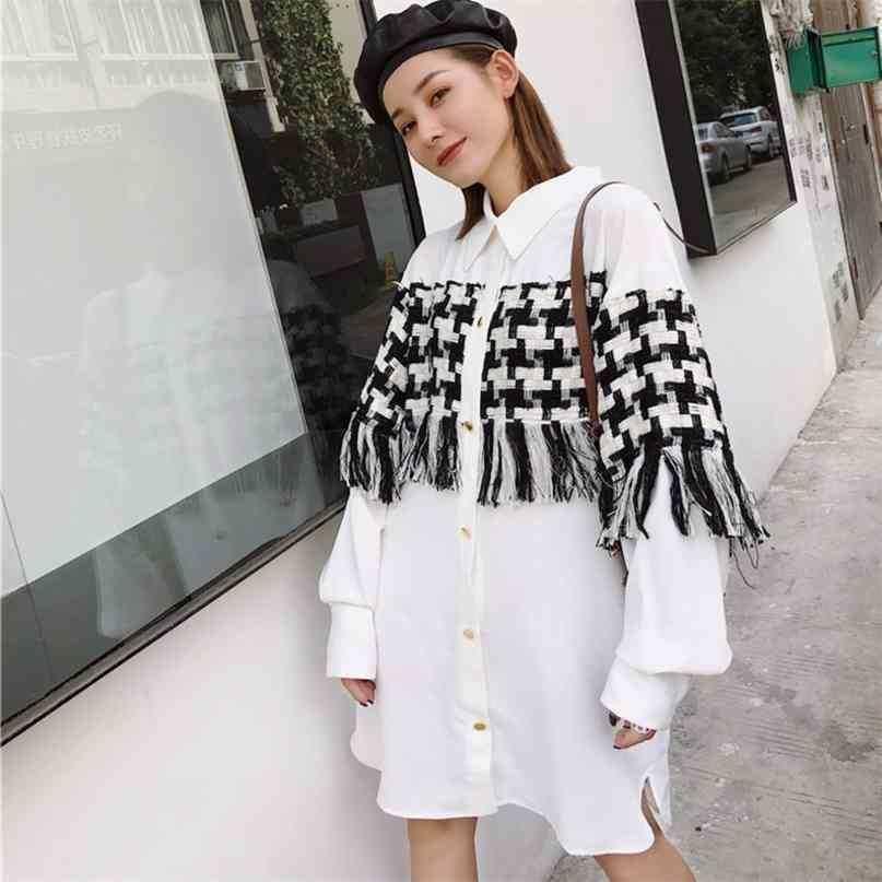 Couture treillis Tassel à manches longues à manches longues et femme robe de femme occasionnel Simple Mode Summer Chemise TV540 210526
