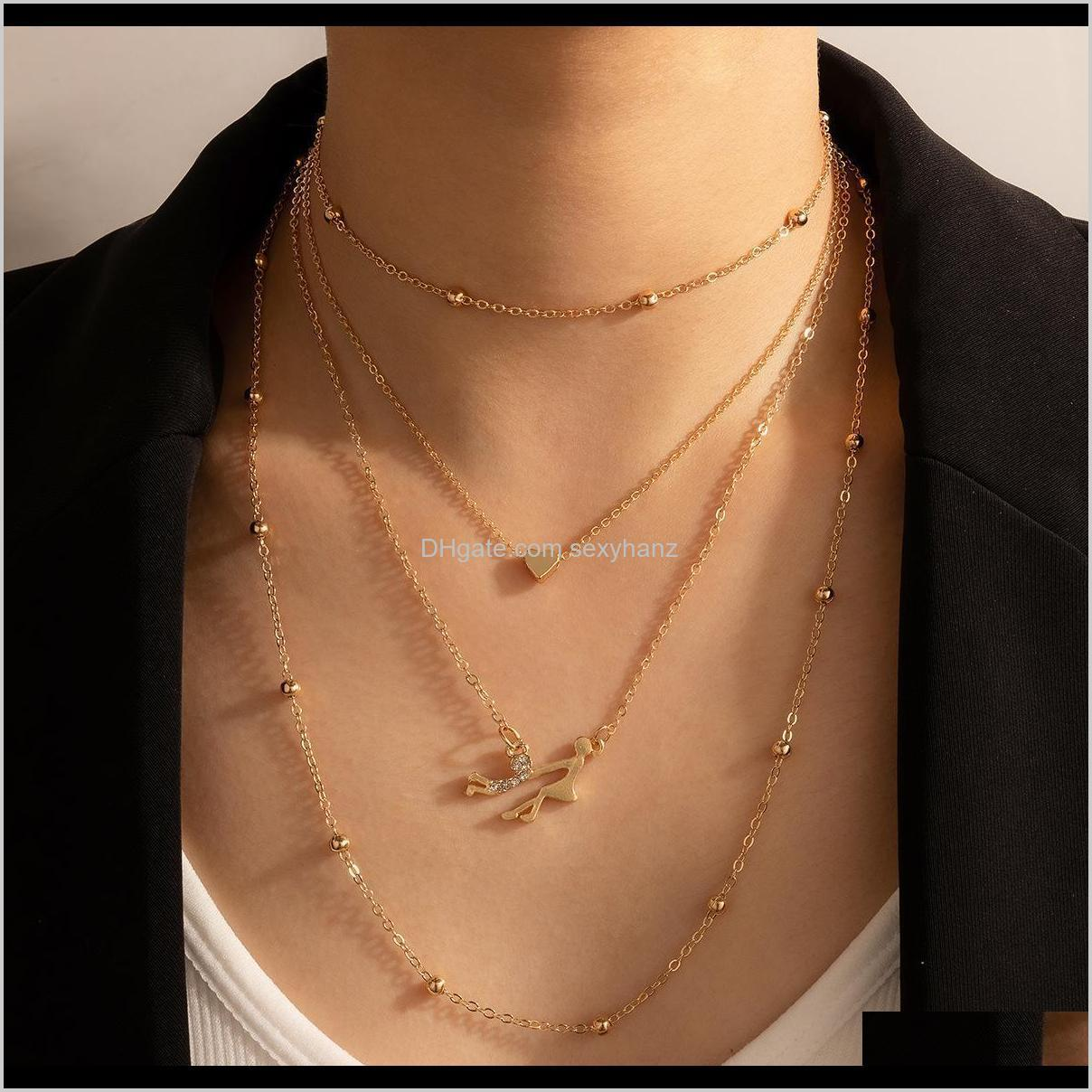 Necklaces & Pendants Drop Delivery 2021 Mothers Day Baby Girl In Hand Mother Pendant Gold Heart Chokers Necklace Fashion Jewelry Gift Zbrjm