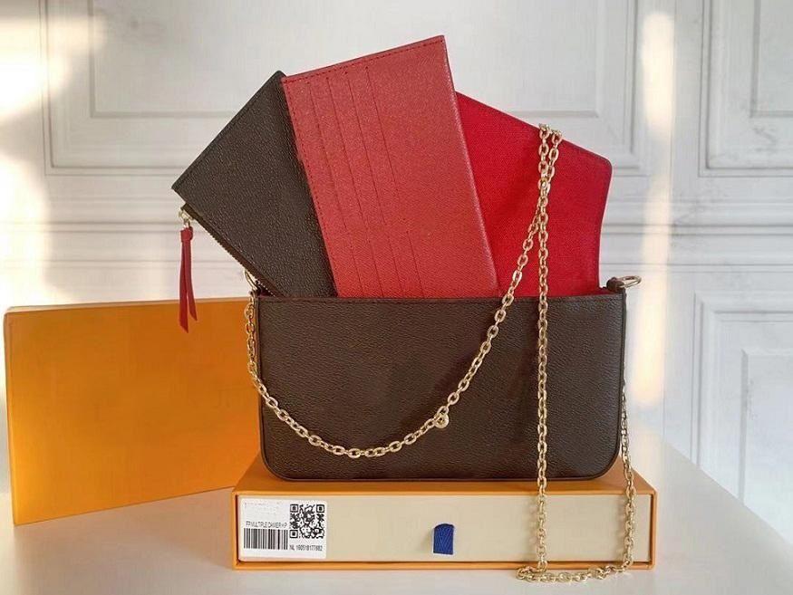 3 PCS / Set Designers Mulheres Sacos de Ombro Luxury Bolsas Brown Flor de Alta Qualidade Messenger Cadeia de Cadeia Cruz Cruz Senhoras Bolsa Bolsa Totes de Embreagem Com Bolsa De Poeira