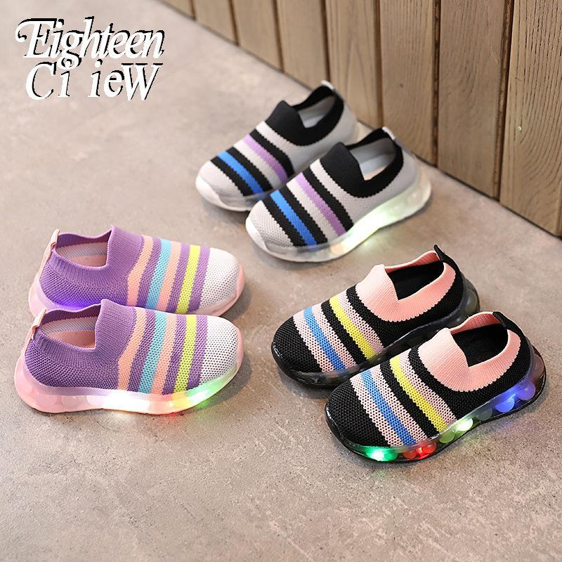 Athletic & Outdoor Size 21-30 LED Luminous Sneakers For Children Shoes Kids With Glowing Boys Girls Sports Running Fashion Breakable