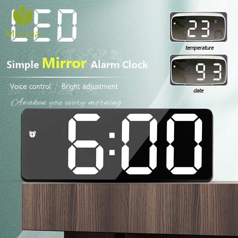 MROSAA مرآة المنبه LED الجدول الرقمي التحكم الصوتي قادم وقت درجة الحرارة تاريخ درجة الحرارة عرض الوضع ليلة مشاهدة ساعات أخرى الملحقات