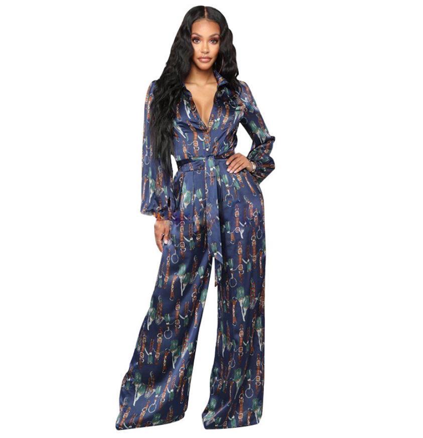 Outfits Real Images Trainingsanzüge Gedruckt Elegante Weibliche Lange Ärmel Revers Hals Hemd und Schnürung Wide Bein Hosen Office Lady 2021 Formale Frauen