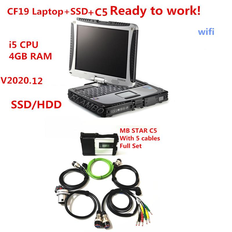 MB Star C5 sd connect with Newest V2020.12 ssd or hdd full set in TOUGHBOOK CF19 i5 4g laptop Ready to Use for mb cars trucks fast shipping