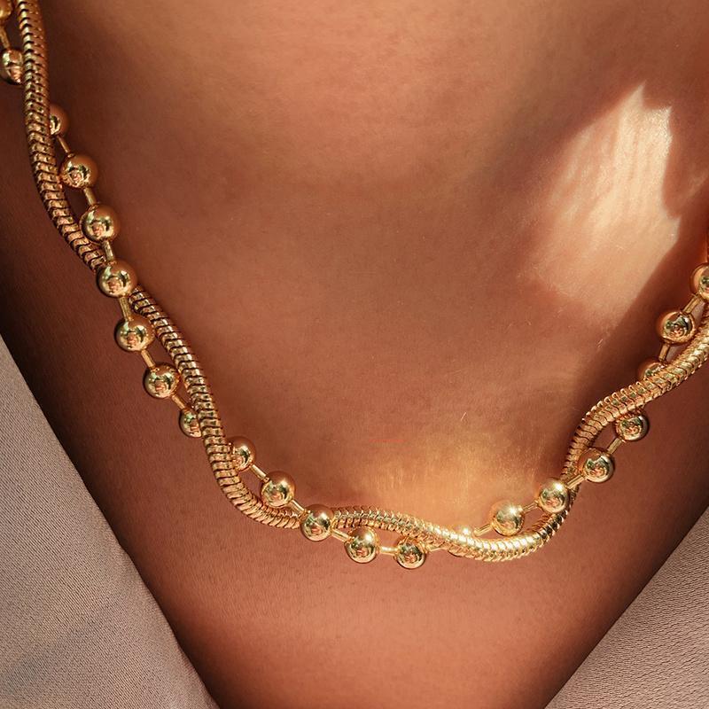Anhänger Halsketten Zeitloser Wunder Messing Schicht Schlange Kette Choker Halskette Frauen Schmuck Punk Designer Top Trendy Boho Ins Perlen Geschenk Egirl