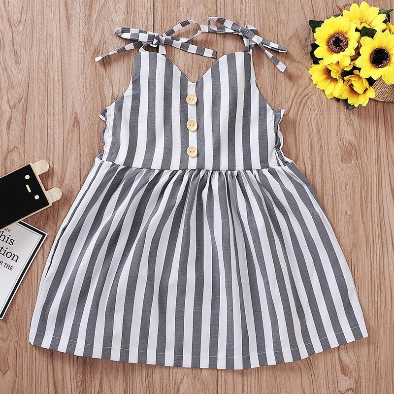 Pudcoco estate bambino bambino bambina vestiti senza maniche a strisce cinturino vestito vestito estivo vestiti estivi prendisole 2323 v2