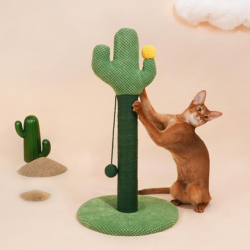 """25"""" Tall Cactus Cat Scratcher, Protect Your Furniture With Natural Sisal Scratching Posts And Pads, For Kittens Adult Cats Toys"""