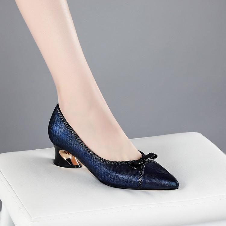 Donne pompe morbide pelle di pecora autunno primavera primavera su bow-leccato punta a punta tacchi alti taglia 34-42 scarpe vestito