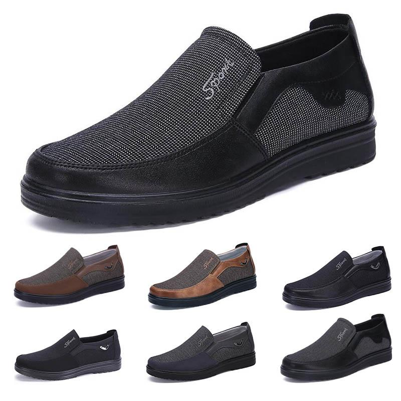 Fashion Business style mens shoes comfortable breathable black brown dark navy chocolate dlive soft flats bottoms men casual for Party 38-44