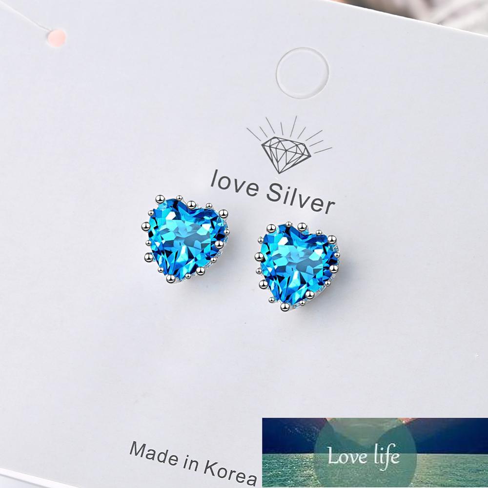 925 Sterling Silver Love Heart Earring Luxury Female Crystal Blue Zircon Stud Earrings For Women Wedding Party S-E1039