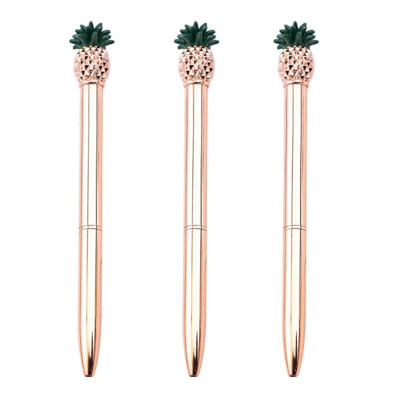 Ballpoint Pens 1000pcs Arrival Metal Rod Rotating Pineapple Pen Commercial Ball Gift Stationery Black Blue Ink Custom Logo