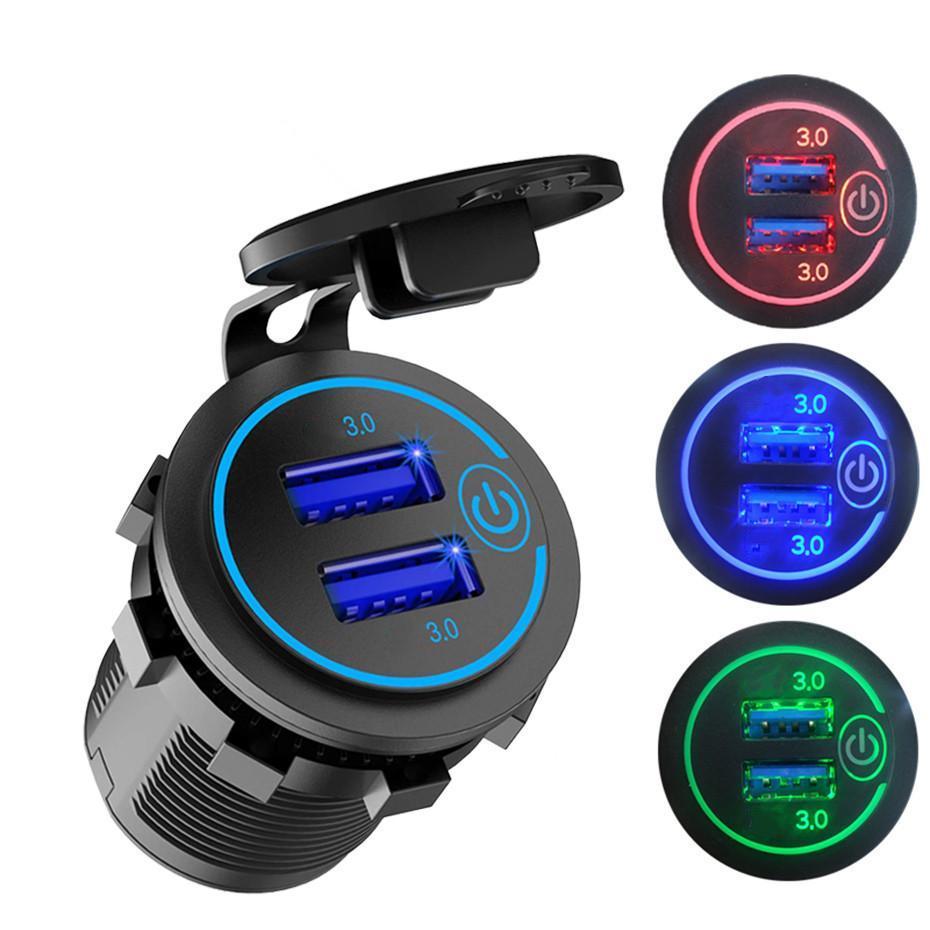 36w QC 3.0 Touch Switch Switch Switch Switch Camion de camion à moto Universal Bateau Dual USB Charger Socket pour Tablet Tablet Caméra GPS DVR
