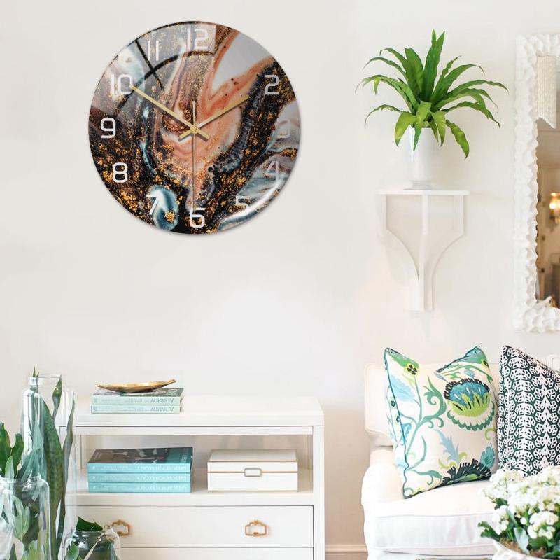 Wanduhren 3D Acryl Schwarz Gold Marmor Muster Klebstoff Uhr Metall Nadel Silent Mechanismus Modernes Wohnzimmer Home Decoration