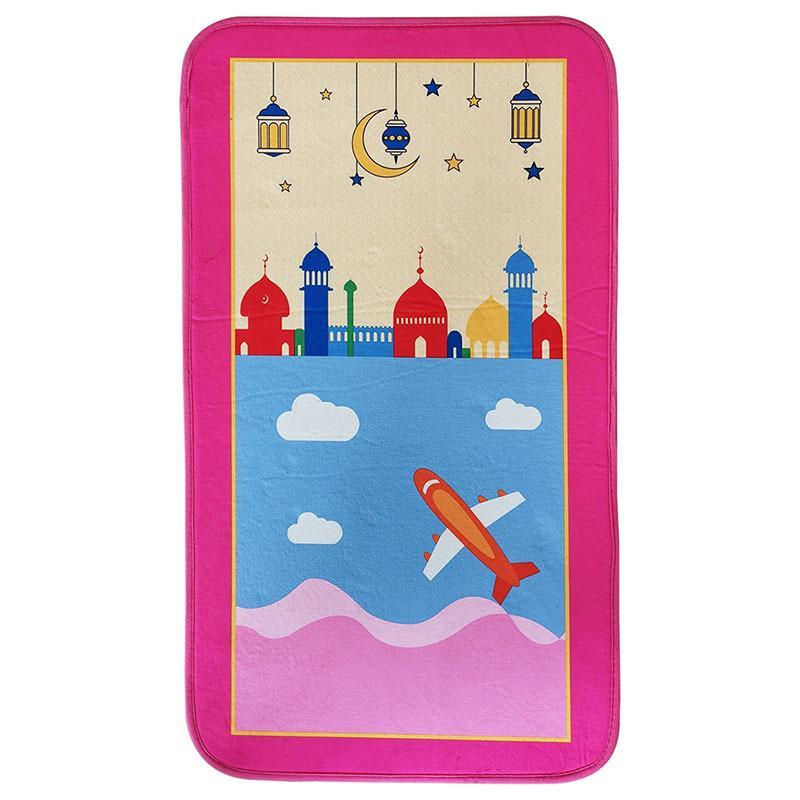 Детские дети молитвенный коврик толстый мягкий исламский мусульманский мусульманский молитвенный ковер ковер Tapis de priere ислам молящийся коврик коврики sajadah 210329