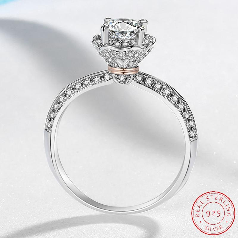 Thorns and Rose Finger Rings for Women 3D Flower Ring Band 925 Sterling Silver Jewelry Gift XR514