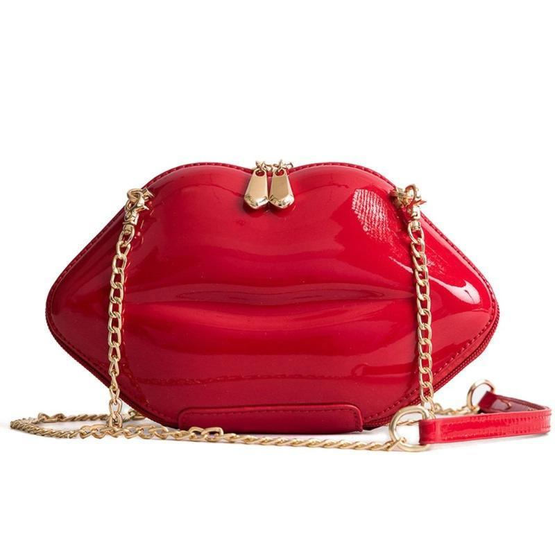 Bolsos de estilo de labio de cuero de patente cadena de moda Un hombro Diagonal Bag Billetes