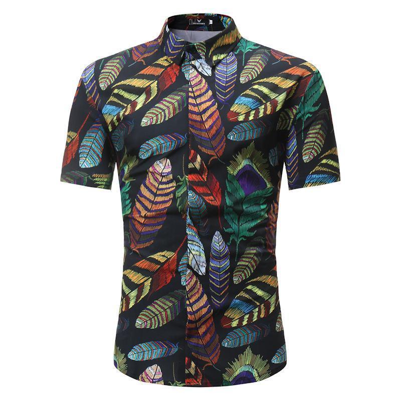 Camicie Uomo Tide Stile Stile Estate Palma Palm Tree Stampa Beach Hawaiian Camicia Casual Manica Corta Casual Hawaii Chemise Homme US Size 3XL Uomo