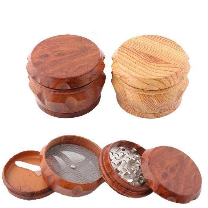 Más nuevo tambor de madera Amoladora de madera Fumadores Matel Molinillas de hierbas 2 Tipo 40mm / 50mm / 63mm 4 capas de tabaco Otros accesorios de humo WY856