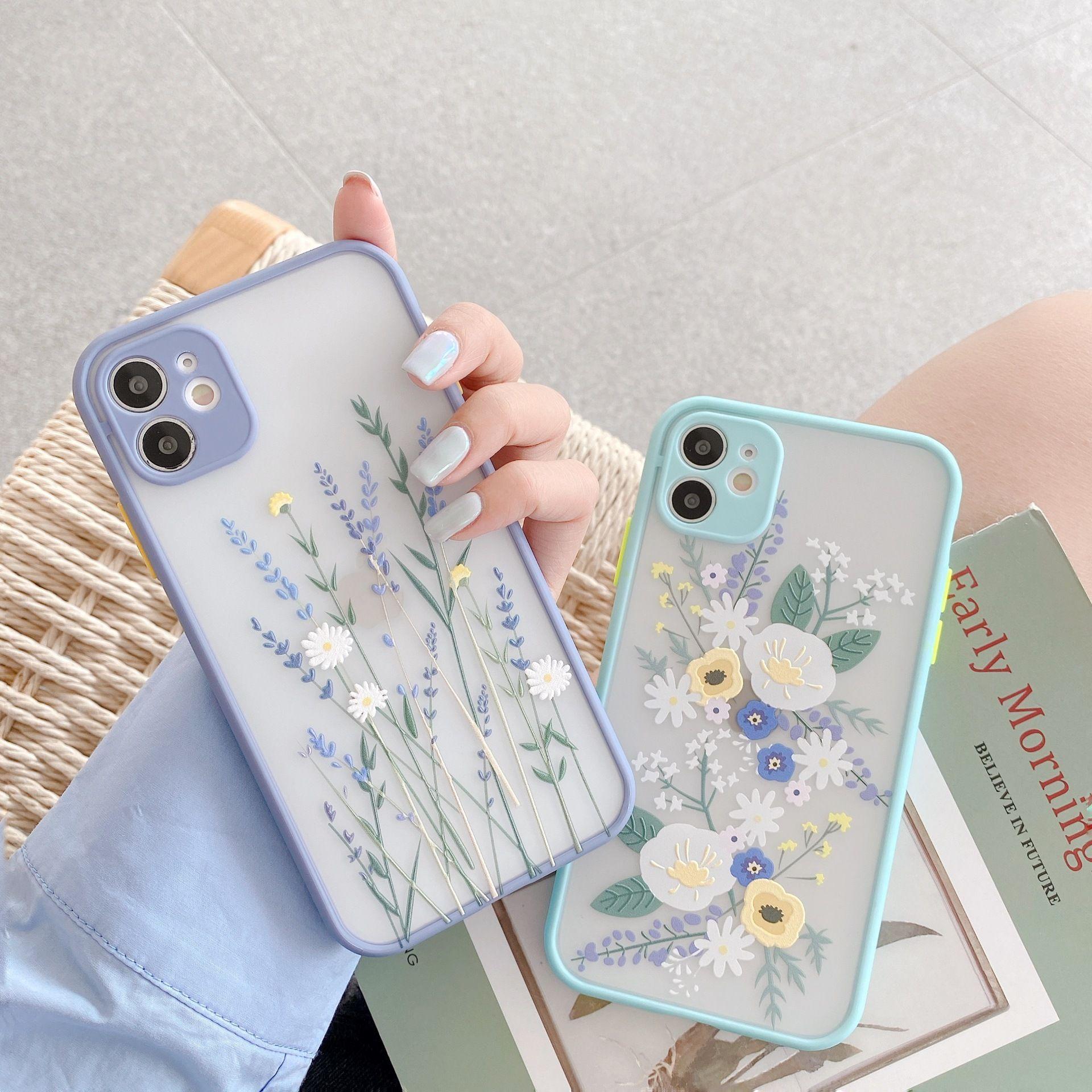 Luxus 3D Relief Blume Fall für iPhone 12 Mini 11 Pro Max x XR xs 7 8 Plus Weicher Stoßfänger Transparent Matte PC Back Cover