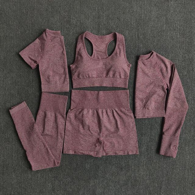 2/3 / 5 stücke Nahtlose Frauen Yoga Set Workout Sportswear Gym Kleidung Fitness Langarm Crop Top Hohe Taille Leggings Sportanzüge