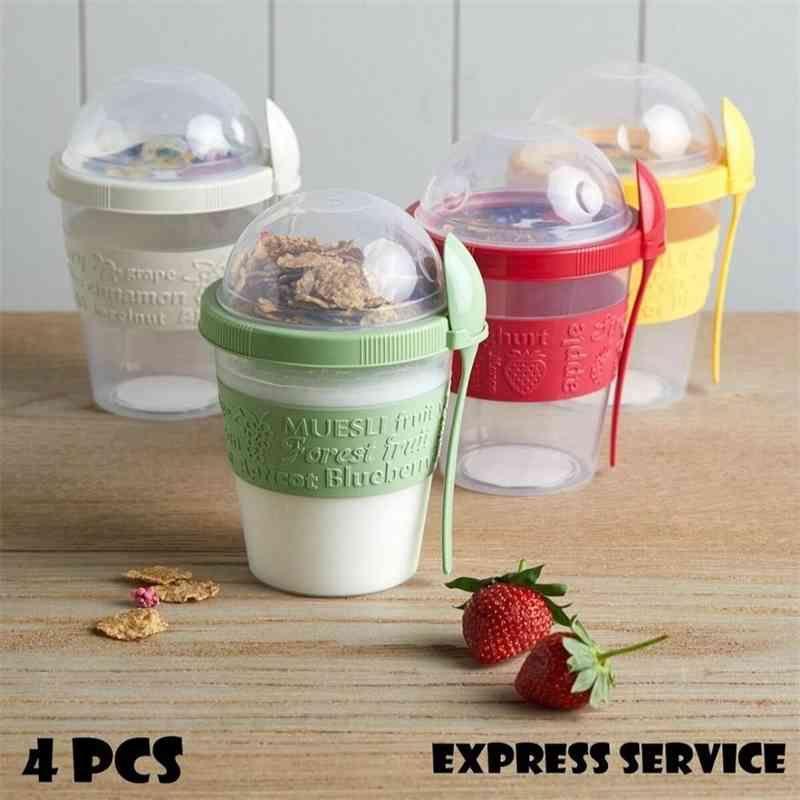 Chill Pour aller yaourt Parfait Cute Coussines Muesli Boîte à lunch Bouteille Réutilisable Petit déjeuner exotique Fruits exotiques avec Porte-coiffe Partie de cadeau 210331