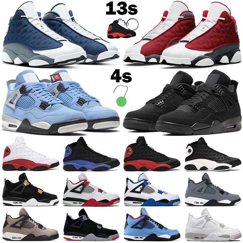 Basketbol ayakkabıları 4s jumpman erkekler kadınlar 13s 4 Üniversite Mavi Beyaz Oreo 13 Chicago Kırmızı Flint Siyah Mor Metalik Yeşil eğitmen erkek spor ayakkabı