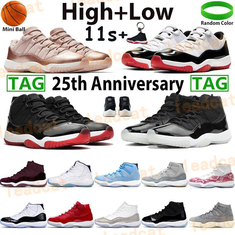 Platinum Tint Concord 45 nuit de bravoure 11s 11 Bred Cap and Gown Hommes femmes Chaussures de basketball Space Jam designer Sport Sneakers taille 7-13