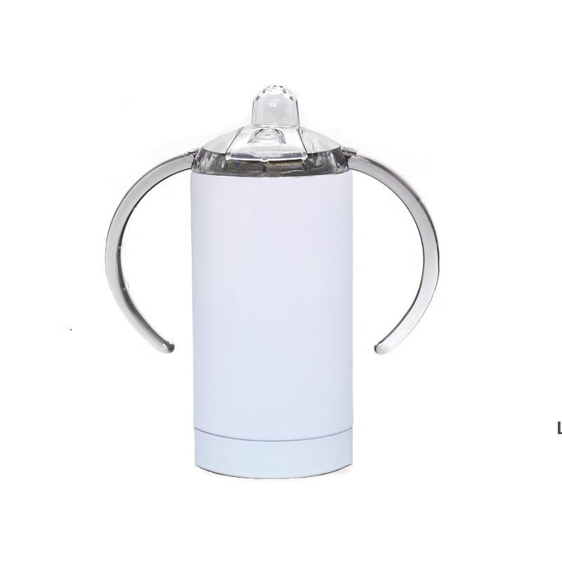 Straight Tumbler Thermal Sublimation Mug With Binaural Pacifier Bottle Vacuum Insulation White Stainless Steel Mugs 12oz SEA DHC7394