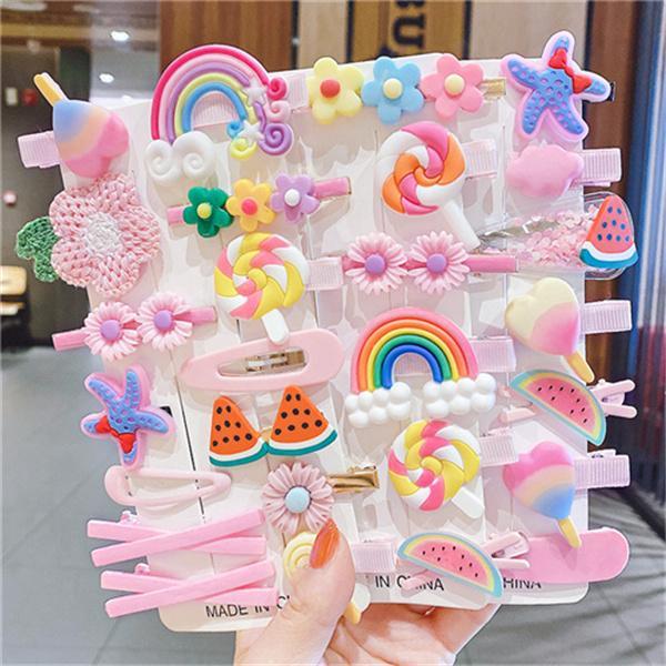 Multicolor Cabello Accesorios para niñas Niños Mujeres Lindo Colorido Headwear Dibujos animados Bebé Princesa Horquilla Moda Heleado Conjunto