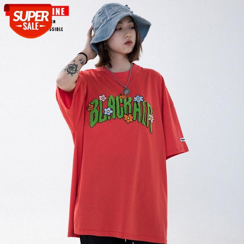 Sommer-Buchstabe Flocking gedruckt Kurzarm T-Shirt Männer und Frauen Street Mode BF Lose Casual Kurzes T-Shirt # QF6O