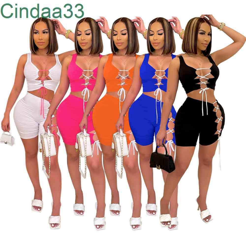 Summer Women Tracksuits Slim Sexy Hole Bandage Sports Sleeveless Shorts Two Piece Set Solid Color Yoga Outfits Plus Size Sportwear