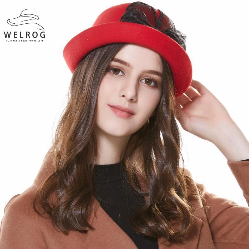 Stingy Rand Hüte Welrog Frauen Winter Bow Filz Fedora Elegante Hut mit Schwarzen Ohren Kleine Fedoras Klassische massive Farben