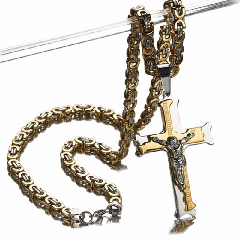 تصميم رياضي الفولاذ المقاوم للصدأ خمر الصليب مع يسوع قلادة السائق الرجال المرأة قلادة مجوهرات اليدوية 18-40 'سلاسل هدايا