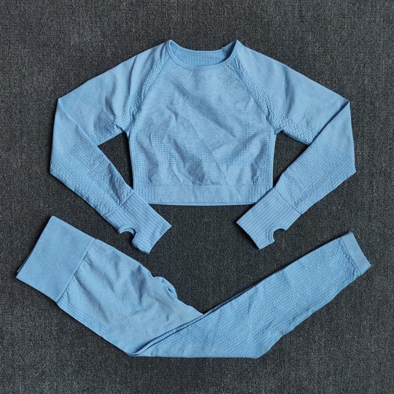 Womens Sportswear sin fisuras yoga conjuntos de mujeres gimnasio ropa fitness manga larga cultivo top + alta cintura de entrenamiento leggings trajes deportivos