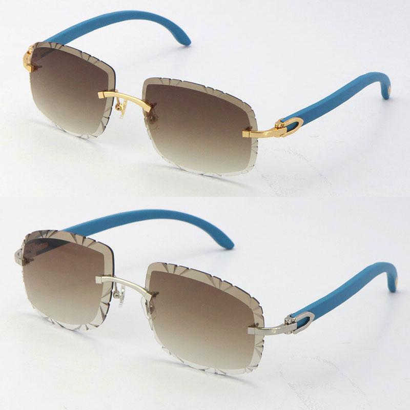 나무 배 모양의 얼굴 안경 UV400 여러 가지 빛깔의 선택 렌즈 18K 골드 남성과 새로운 금속 무테 C 장식 푸른 나무 선글라스 남성 여성과 여성의 안경 핫