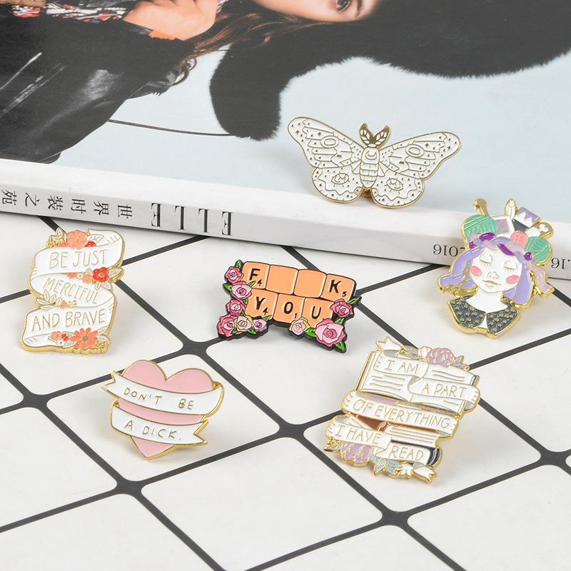 Handcraft Girl Banner Bannière EnaMel Badge Badge Papillon Broche Broche Sac Denim Chemise Revers Pin Romantique Flower Bijoux Cadeau 945 Q2
