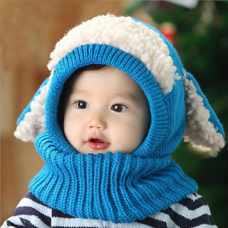Baby Winter Crochet Warm Hats Cap Girl Kids Handmade knit Woolen yarn caps cute dog shape ear warmer scarf hat