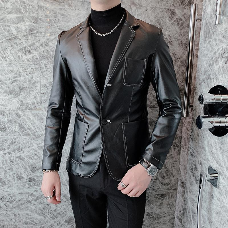 Homens Fur Faux Homens Casuais Slim Fit Couro Terno Blazers Casaco Masculino Streetwear Casaco Do Vintage Outerwear