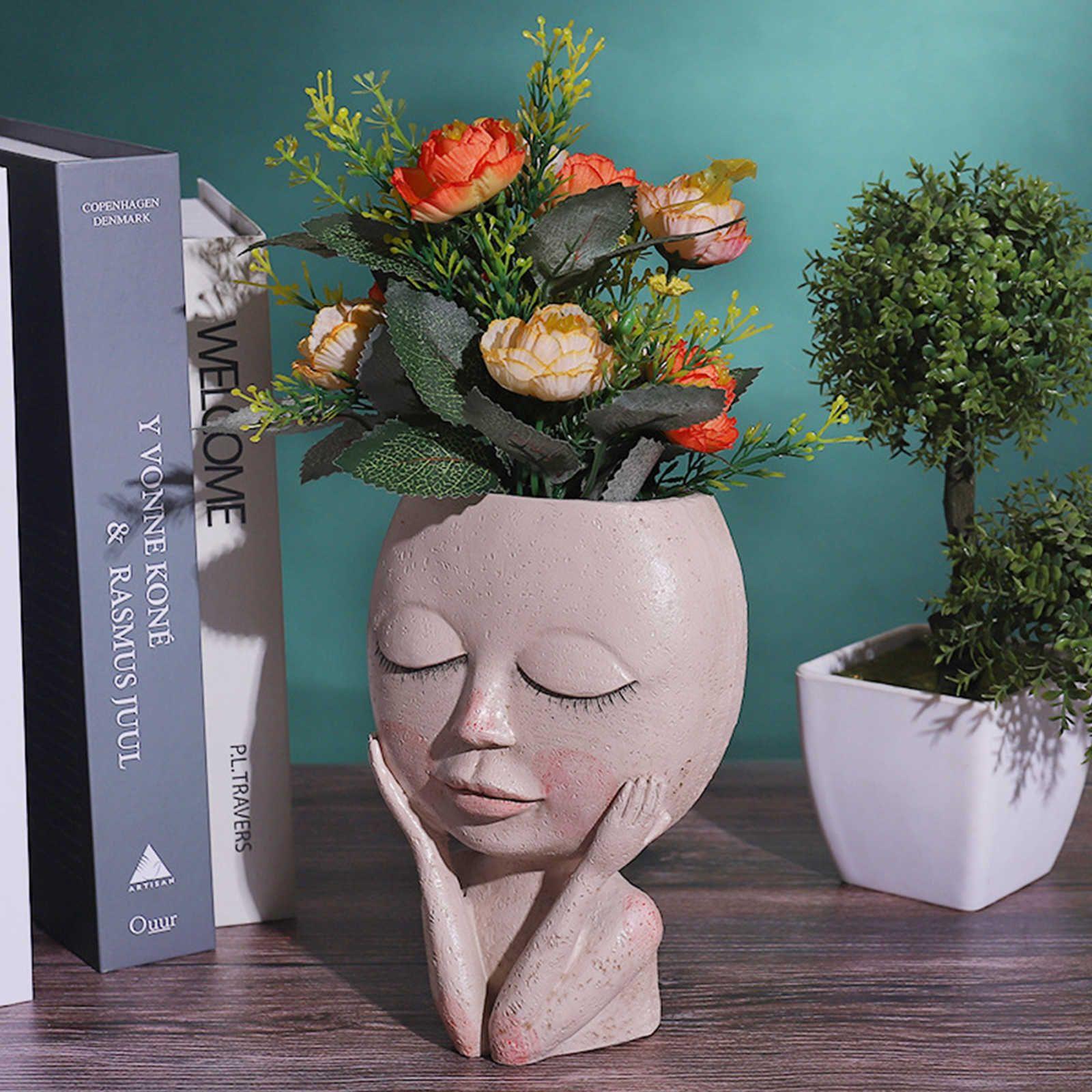 Filles visage visage plante plante plante succulente plante fleur pot pot pot flowerpot figurine décor nordique décor nordique ornement 210615