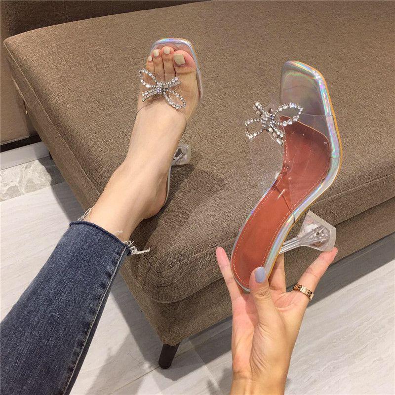 Eilyken Femmes Pantoufles 2021 Talons hauts transparents Sexy Square Square Toe Mode Strass Bowtie Bowtie Mariage Chaussures pour Lady ECXS444