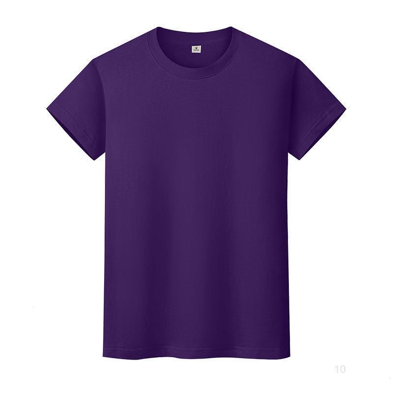 T-shirt de couleur solide ronde en coton à manches courtes à manches courtes et à manches longues 65Y