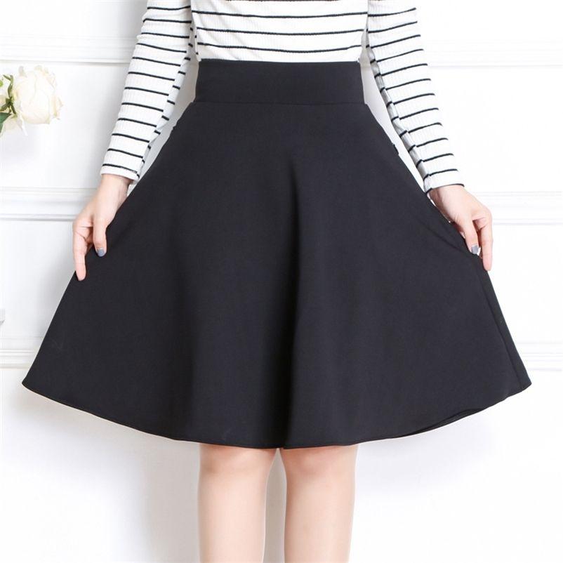 Frühling Herbst Frauen Midi Rock Koreanische Mode Slim Tasche Elastische Hohe Taille A Line Rock Plus Size Schwarz Sexy Rock 210412